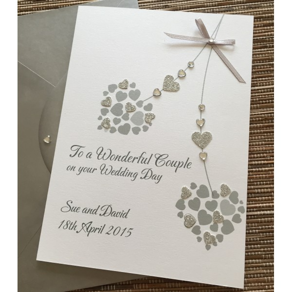 Glittery Sweeping Hearts Wedding or Anniversary Card