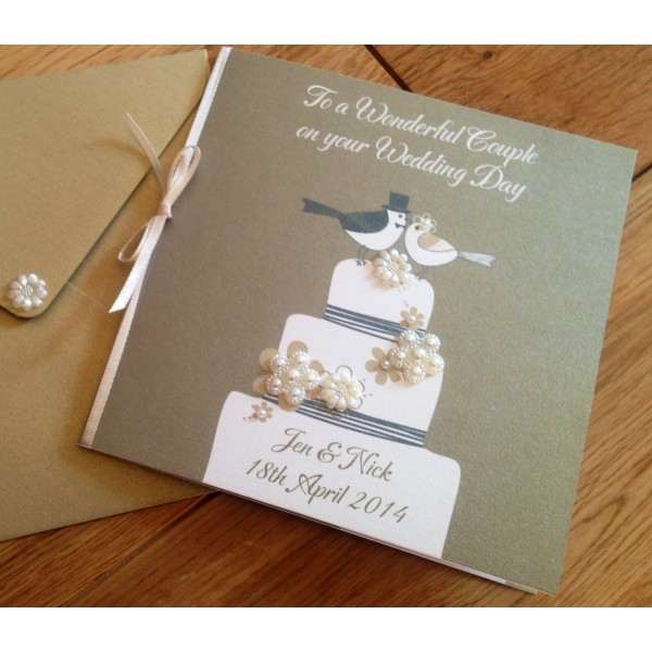 Lovebirds Wedding Cake Card with Pearl Flowers