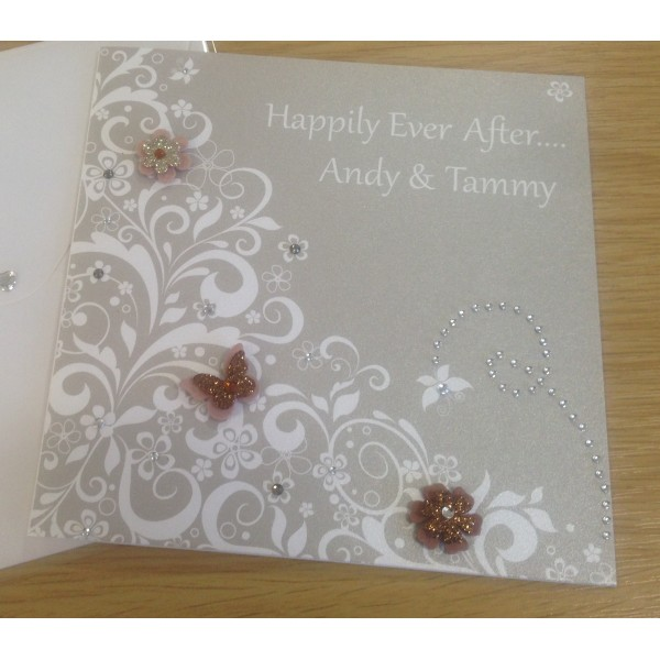 Elegant Lace Effect Floral Butterfly Card
