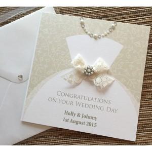 Diamonds and Pearls Wedding Dress Card
