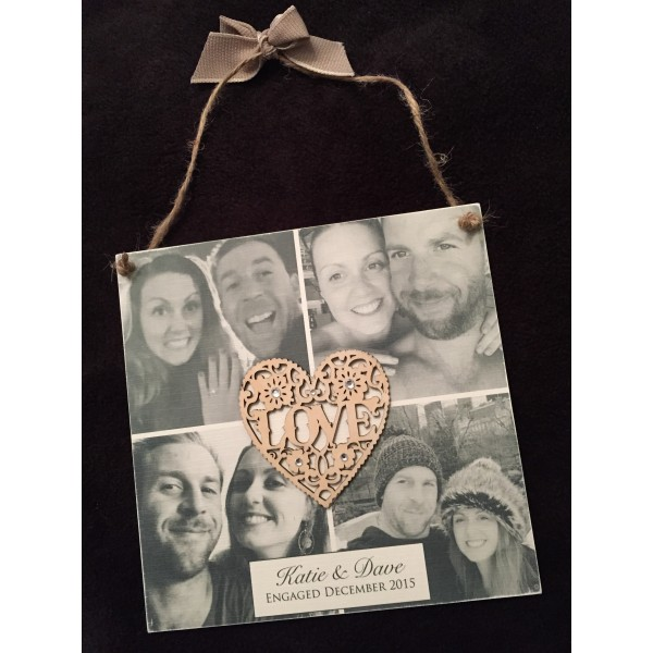 Engagement 'Love' Plaque with Four Pictures