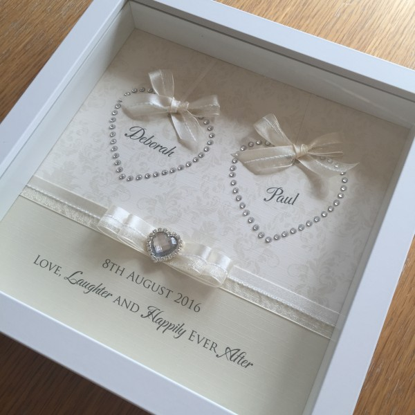Sparkling Double Hearts Wedding Enagement Frame